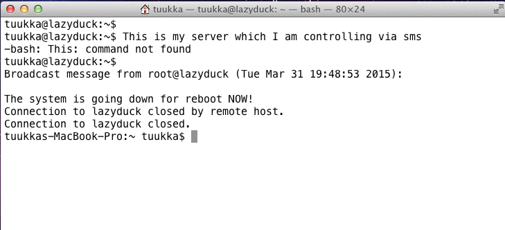 How to boot linux via sms and Twilio view from linux console